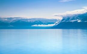 Picture sea, the sky, fog