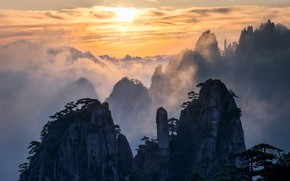 Picture clouds, mountains, rocks, China, Anhui