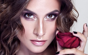 Picture flower, look, girl, face, rose, portrait, makeup, brunette, hairstyle, fingers, beauty, closeup, Burgundy