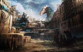 Picture the city, building, construction, Godfire, Trojan Horses
