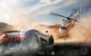 Picture road, machine, dust, helicopter, Need for Speed: Payback