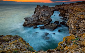 Picture sea, beach, landscape, nature, sunrise, stones, rocks, shore, nature, seascape, beautiful, rocks, sunrise, magnificent