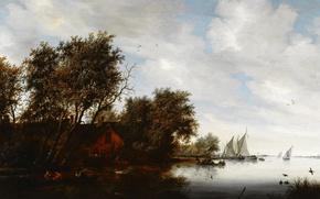 Picture house, river, boat, picture, sail, Salomon van Ruysdael, Solomon van Ruisdael, River Landscape with a ...