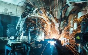 Picture sparks, robotic, Welder