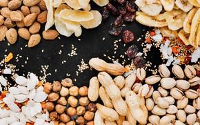 Picture black background, nuts, banana, almonds, hazelnuts, peanuts, pistachios, candied, cashews, pumpkin seeds