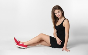 Picture girl, pose, background, sneakers, makeup, figure, dress, hairstyle, brown hair, legs, sitting, on the floor, …