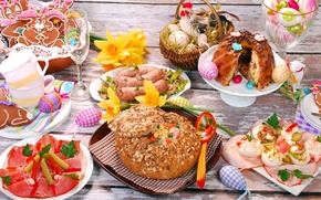 Wallpaper sausages, meat, serving, bread, eggs, Easter, snacks, cuts, table, cake