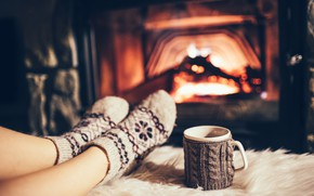 Picture fire, cafe, stockings, fireplace