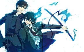 Picture anime, art, guys, brothers, Ao no Exorcist, Blue exorcist, Rin, Yukio