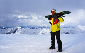 Picture winter, the sun, clouds, snow, landscape, mountains, pose, snowboard, glasses, jacket, costume, gloves, helmet, athlete, ...