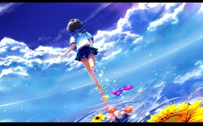 Picture sea, the sky, clouds, back, sunflower, horizon, schoolgirl, runs, barefoot, sailor, circles on the water