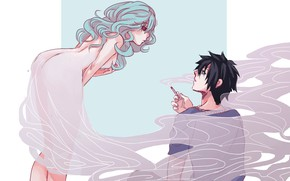 Picture girl, art, guy, Fairy Tail, Fairy tail, Grey, Juvia