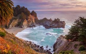 Picture sea, trees, rocks, waterfall, CA, USA, Julia Pfeiffer Burns State Park