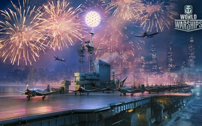 Picture the game, fighters, the carrier, aircraft, fireworks, ships, World Of Warship
