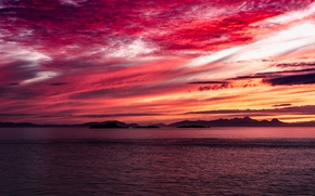 Picture sea, clouds, landscape, mountains, glow