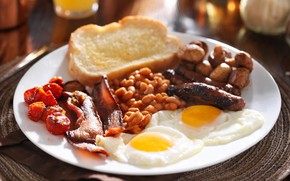 Picture sausage, Breakfast, scrambled eggs, English, beans