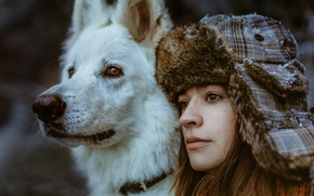 Picture girl, face, each, dog, hat