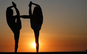 Picture the sun, girls, flexibility, silhouette, yoga