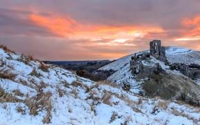 Picture sunset, castle, ruins