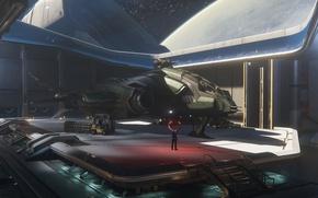 Wallpaper Javelin, landing, starship, Star Citizen