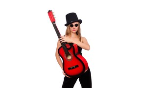 Picture girl, pose, guitar, hat, makeup, glasses, hairstyle, white background, red, in black