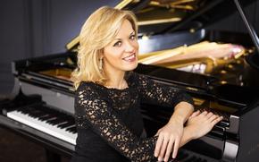 Picture smile, background, earrings, piano, black, blonde, beauty, beautiful, brown-eyed, pianist, Steinway & Sons, Olga Kern, …