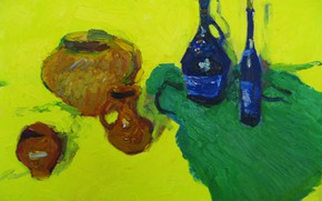 Picture wine, 2008, still life, pitchers, yellow background, The petyaev, green fabric