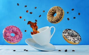 Picture blue, table, background, coffee, Cup, white, donuts, drink, saucer, grain, fly, bokeh