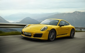 Wallpaper yellow, 911 Carrera T, road, Porsche, the fence, mountain landscape