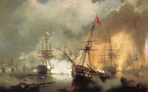 Picture ship, oil, picture, battle, canvas, battle, Ivan Aivazovsky, Sea Battle at Navarino on October 2, …