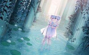 Picture water, tape, girls, rain, dress, ears, anime, art, short hair, elf, megumu