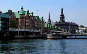 Picture bridge, the building, Denmark, bridge, Palace, water, Parliament, Denmark, Copenhagen, Copenhagen, Copenhagen, parliament, the Parliament …