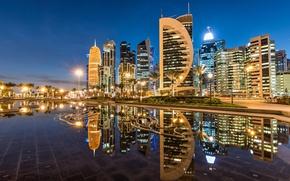 Wallpaper reflection, building, night city, skyscrapers, Qatar, Doha, Doha, Qatar, Sheraton Park