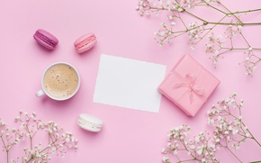 Picture flowers, coffee, food, drink, cake, pink, coffe, macaron, gift box
