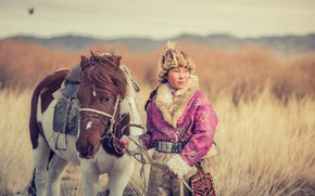 Picture girl, the steppe, horse, Mongolia