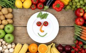 Picture lemon, mushrooms, Apple, orange, corn, bow, strawberry, plate, grapes, eggplant, pepper, fruit, banana, vegetables, tomato, …