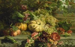 Picture Gerardina Jacoba van de Sande Bakhuyzen, Still life with Flowers and Fruit, picture, oil, canvas