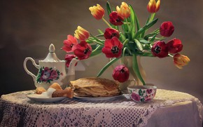Picture flowers, table, background, tea, bouquet, kettle, plate, Cup, tulips, vase, still life, pancakes, saucer, tablecloth, ...