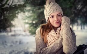 Picture winter, girl, mood, portrait, cap, sweater, bokeh, Sergei Timashev, Tatyana Mikhailovskaya