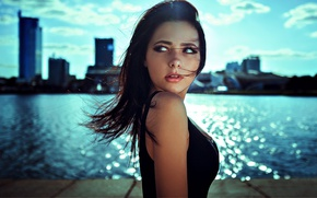 Picture eyes, look, water, girl, light, the city, bokeh