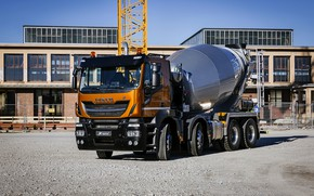 Picture the building, Playground, 8x4, Iveco, concrete mixer, Stralis X-Way, Super Loader, orange-black