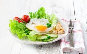Picture Breakfast, cucumber, scrambled eggs, tomato, salad