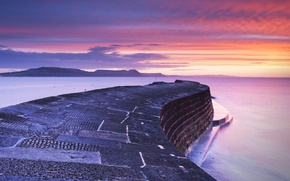 Picture sea, clouds, England, pierce, glow, Dorset, Lyme Regis