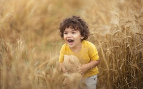 Picture field, toy, laughter, boy, curly