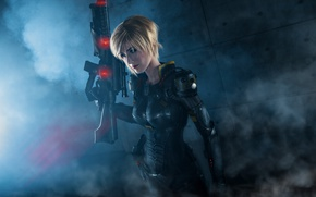 Picture pistol, soldier, armor, bodysuit, smoke, military, weapon, big, cosplay, blonde, rifle, suit, oppai, Wreck-It Ralph, ...