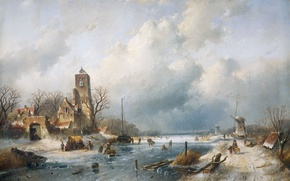 Picture landscape, house, oil, tower, Winter, picture, channel, windmill, Charles Leickert