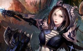 Picture girl, fantasy, horns, green eyes, weapon, face, digital art, artwork, fantasy art, hood, dagger, Magician