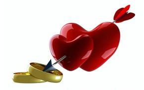 Wallpaper arrow, ring, heart, rendering, heart, Valentine's Day