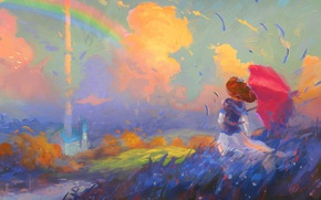 Picture field, the sky, girl, clouds, the wind, rainbow, hat, umbrella, art, girl