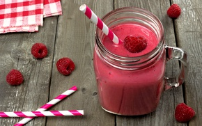 Picture raspberry, Board, juice, tube, drink, napkin, smoothies